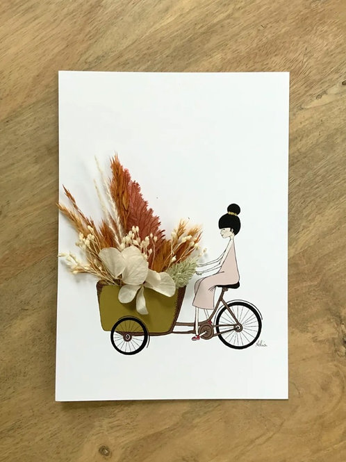 "Postkarte ""A BICYCLETTE"" mit getrockneten Blüten"