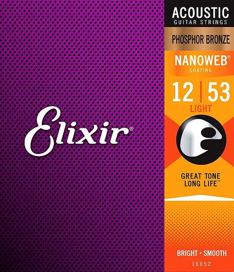 Elixir Nanoweb Phosphor Bronze 12-53 Acoustic Guitar Strings