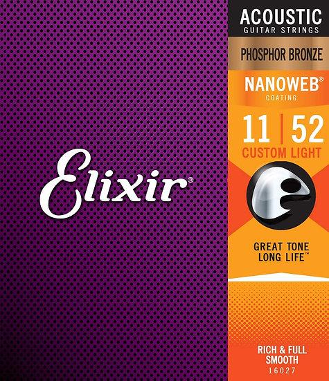 Elixir Nanoweb Phosphor Bronze 11-52 Acoustic Guitar Strings