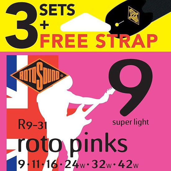 Rotosound Roto Pinks 9-42 Electric Guitar Strings (3 Pack)