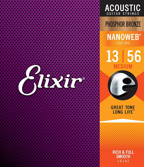 Elixir Nanoweb Phosphor Bronze 13-56 Acoustic Guitar Strings
