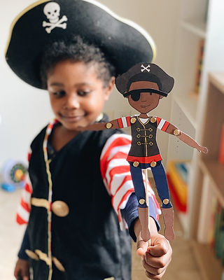 african american boy in pirate costume paper doll