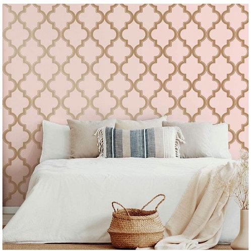 Pink and Metallic Stripe Self Adhesive Vinyl Wallpaper, 28 sq. ft,