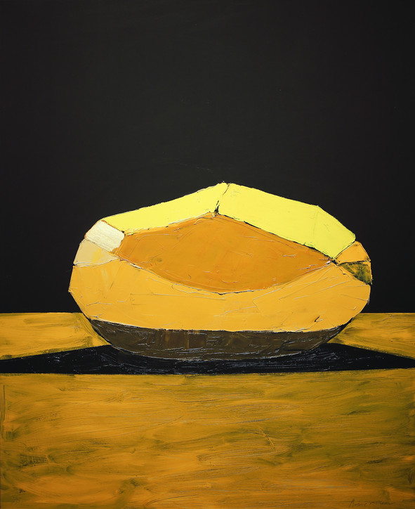 A Carefully Peeled Golden Wonder Against a Dark Background, 2021