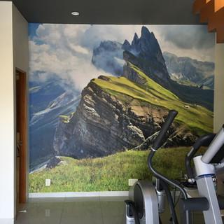 Instalación de fotomural de los Alpes Suizos para gimnasio de cliente