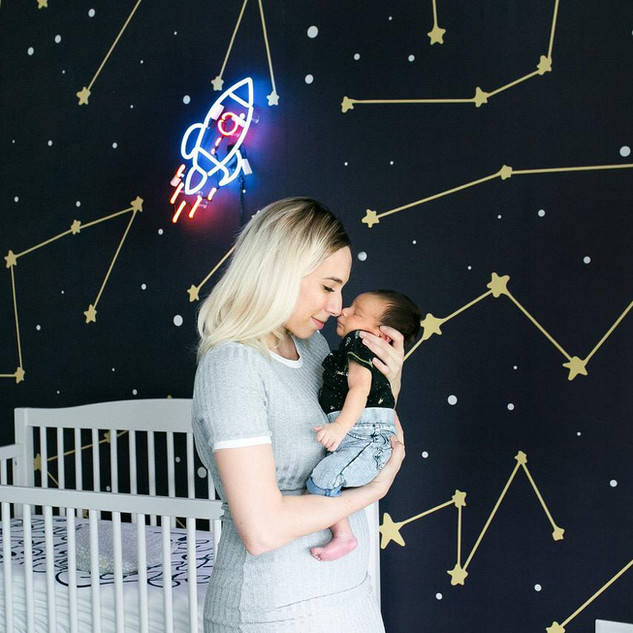 Baby Nursery Rocket Neon + Wallpaper