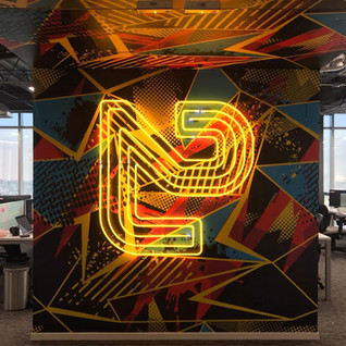 Office Neon Signs + Colorful Wallpapers