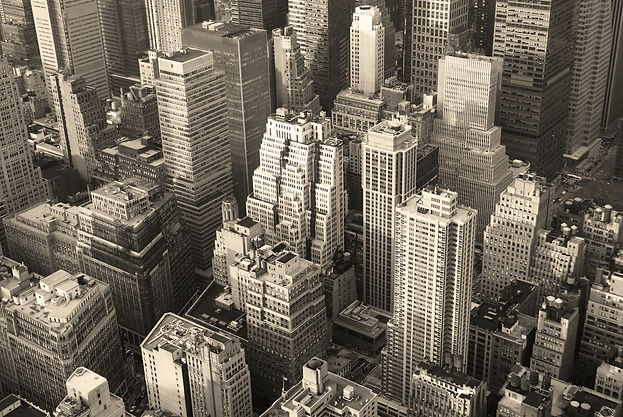 New York City Manhattan skyline aerial v