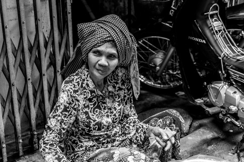 A lady on the streets of Phomn Penh, Cambodia. She was very sweet.