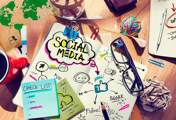 Illustration of notes and check lists for social media planning