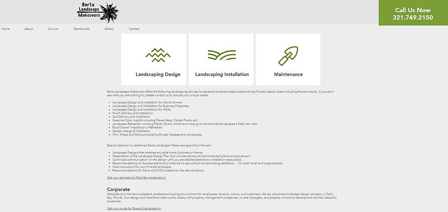 Barta Landscape Makeovers Website