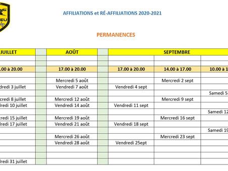 Ouverture des affiliations, ré-affiliations et mutations 2020/2021
