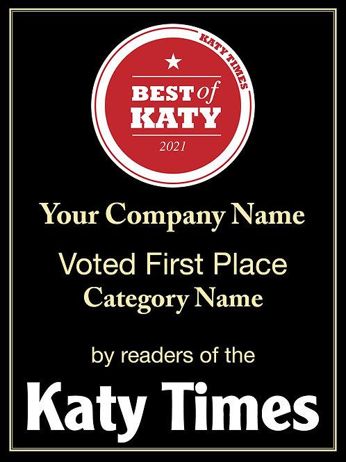 Best of Katy Winner Plaque