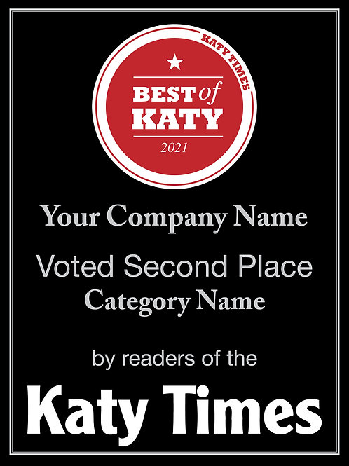 Best of Katy Second Place Plaque