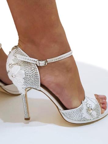 sandalo gioiello per sposa bianco