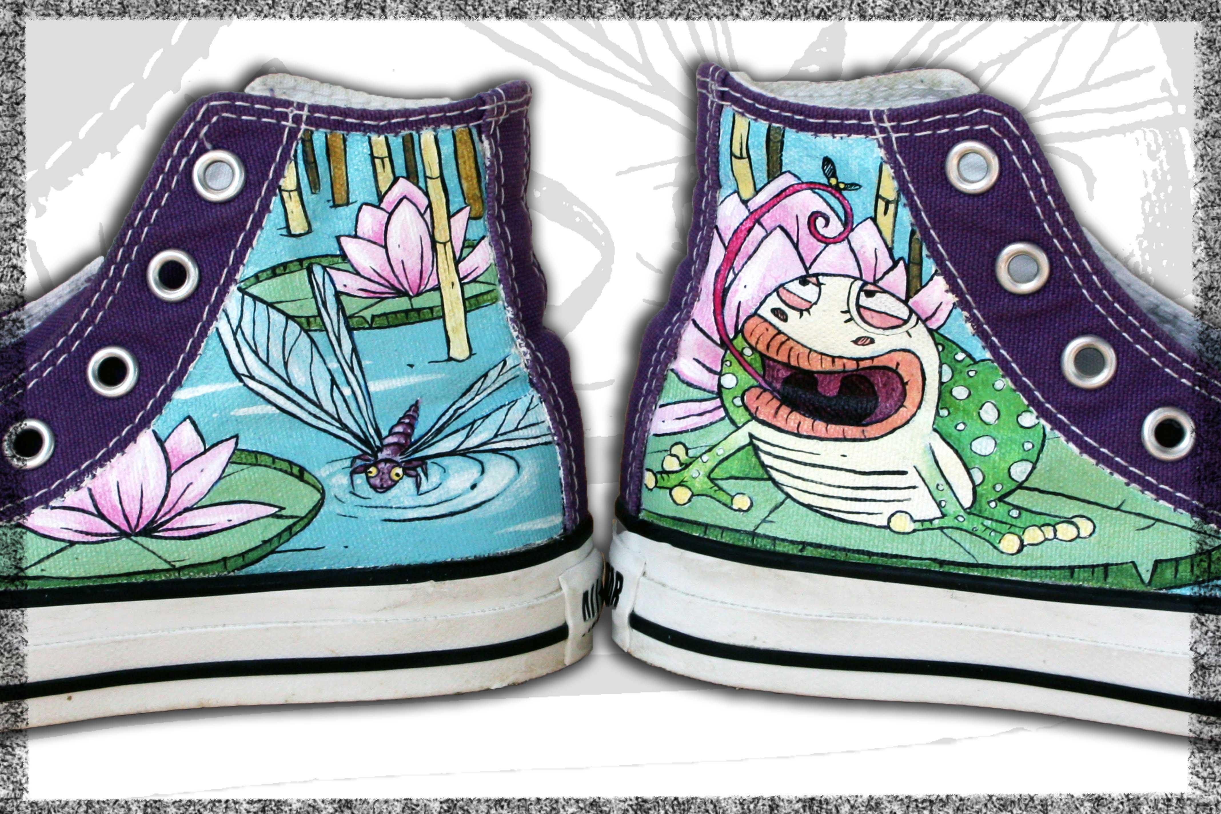 scarpe viola personalizzate a mano