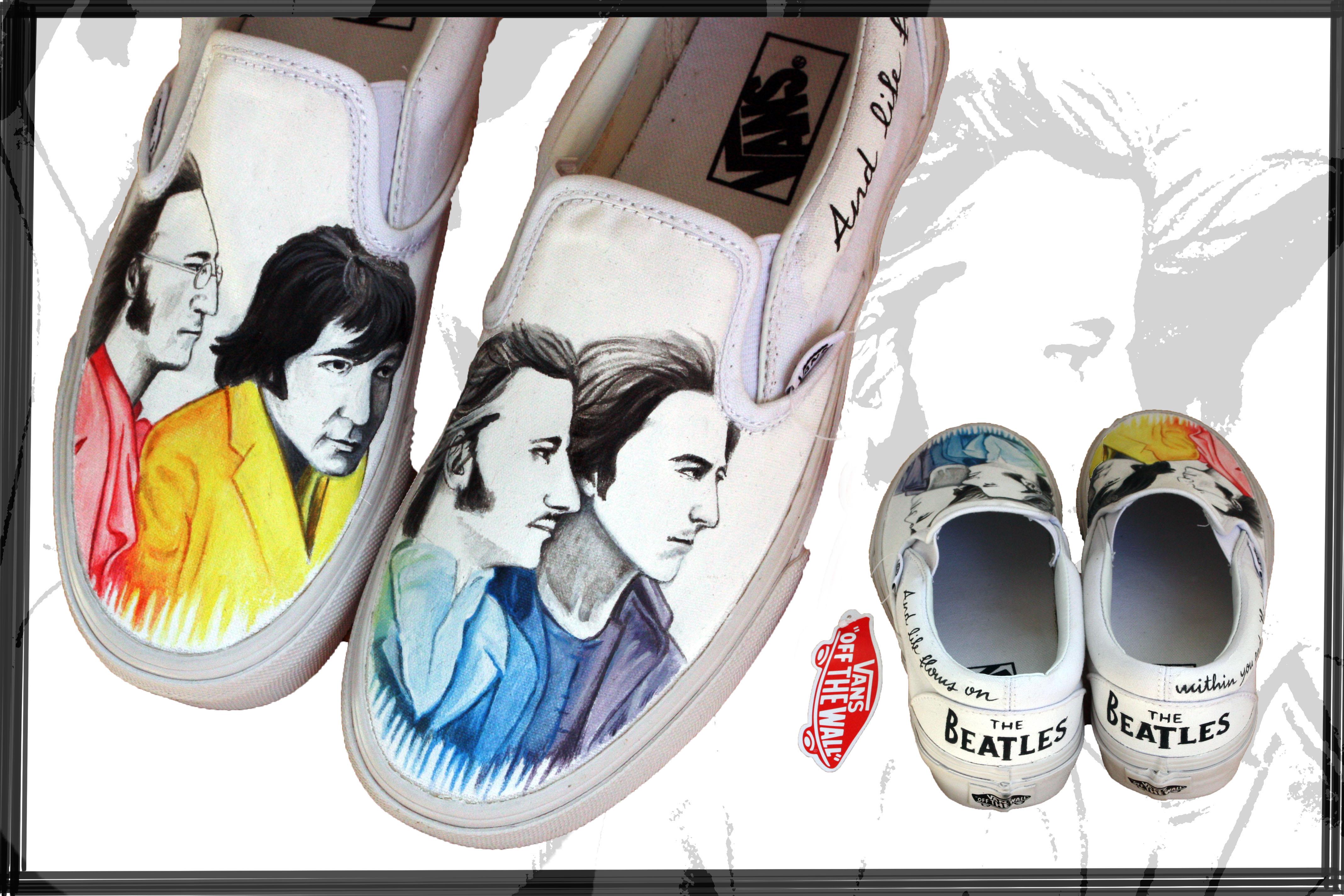 scarpe dipinte a mano con Beatles