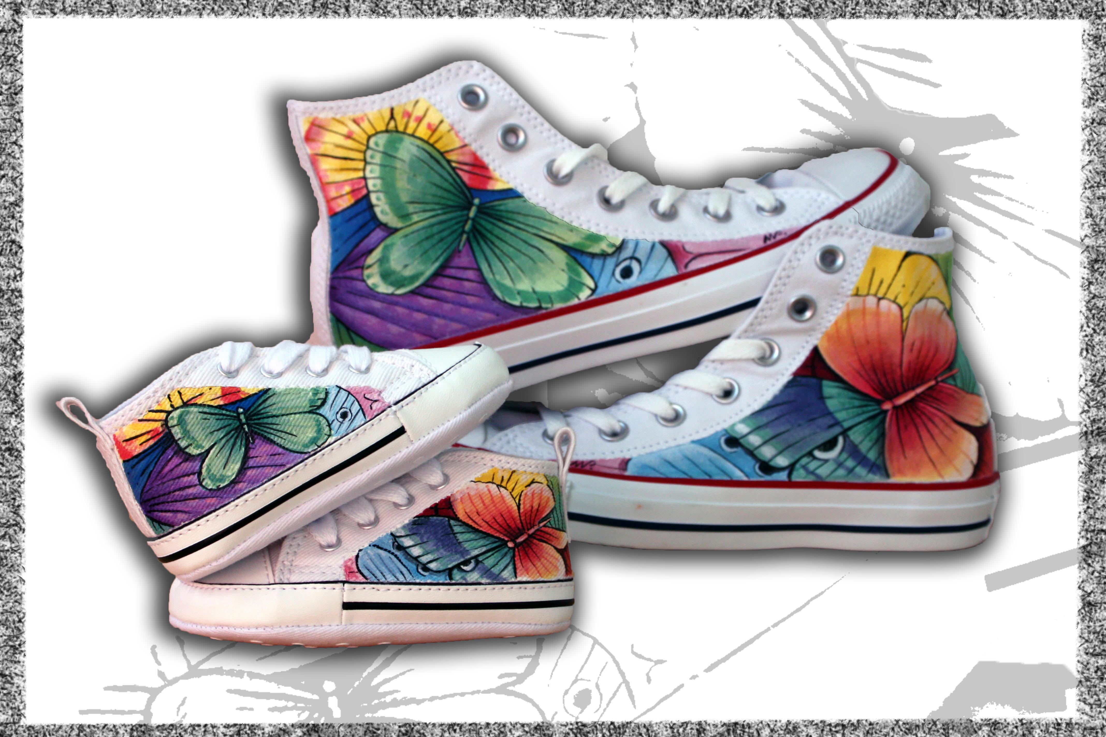 coppia scarpe bimbo/adulto dipinte