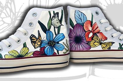 Converse alte dipinte a mano cn fiori e farfalle