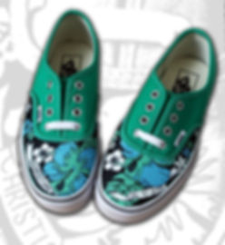 Vans authentic verdi dipinte a mano