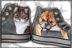 scarpe alte in tela dipinte a mano