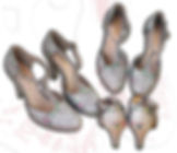 Scarpe a sposa personalizzate per il giorno del matrimonio con delicati fiori ed i nomi degli sposi