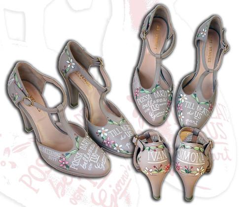 Scarpe da sposa con motivi floreali, frase e nomi