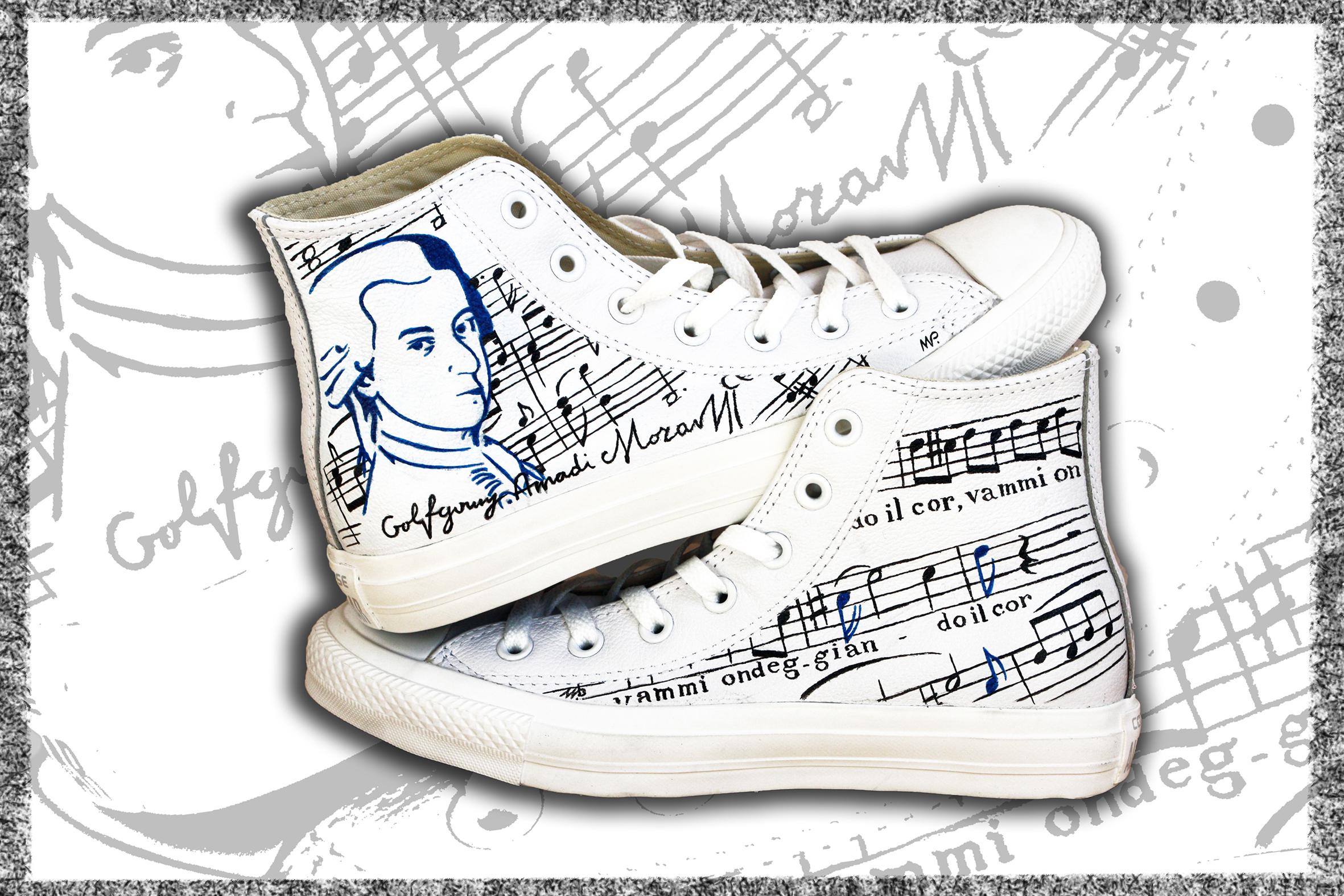 scarpe dipinte con Mozart