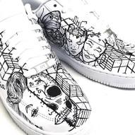 Nike air force personalizzate con tatuaggi bianco nero