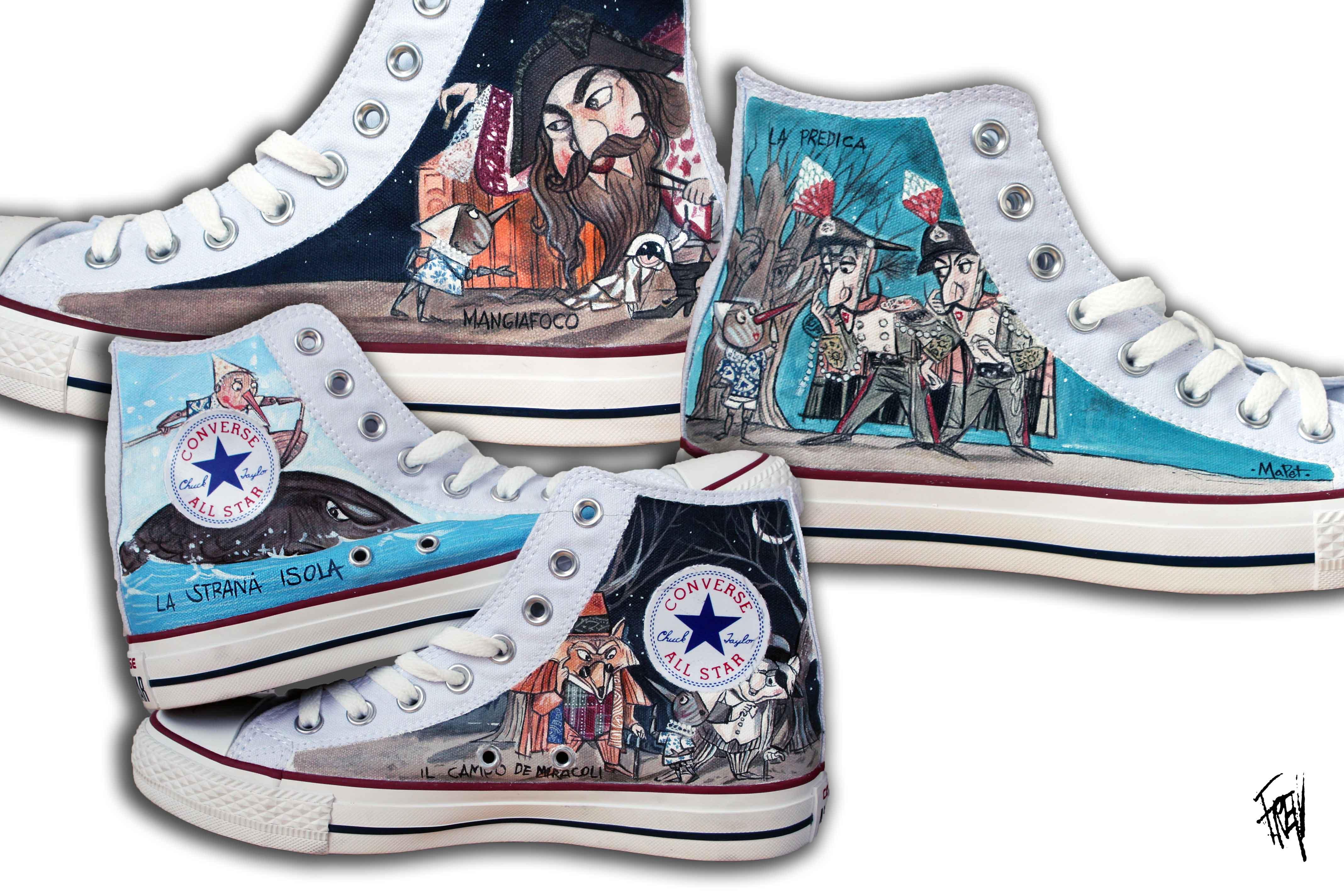 scarpe dipinte con Pinocchio