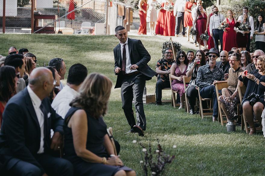 henrik ibsen park redwoods wedding groom walking down aisle