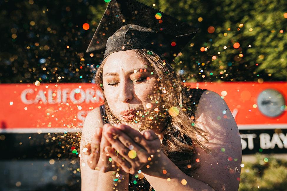 graduate portrait ideas glitter