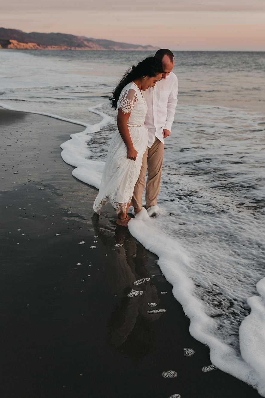 point reyes limantour beach elopement