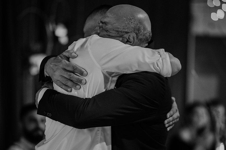 henrik ibsen park wedding groom hugging dad