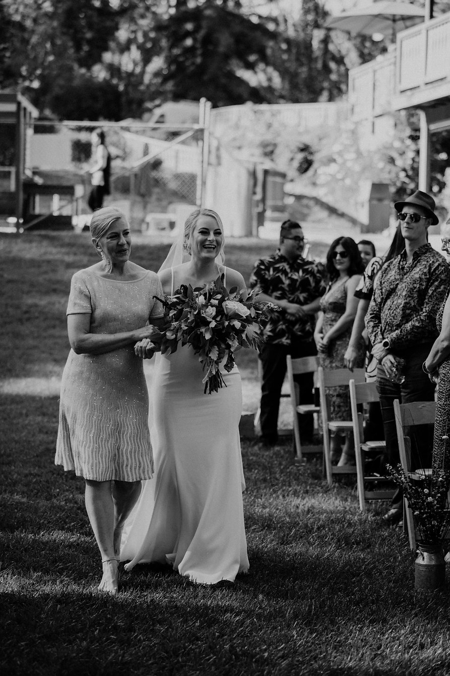 henrik ibsen park redwoods wedding bride walking down aisle with mother