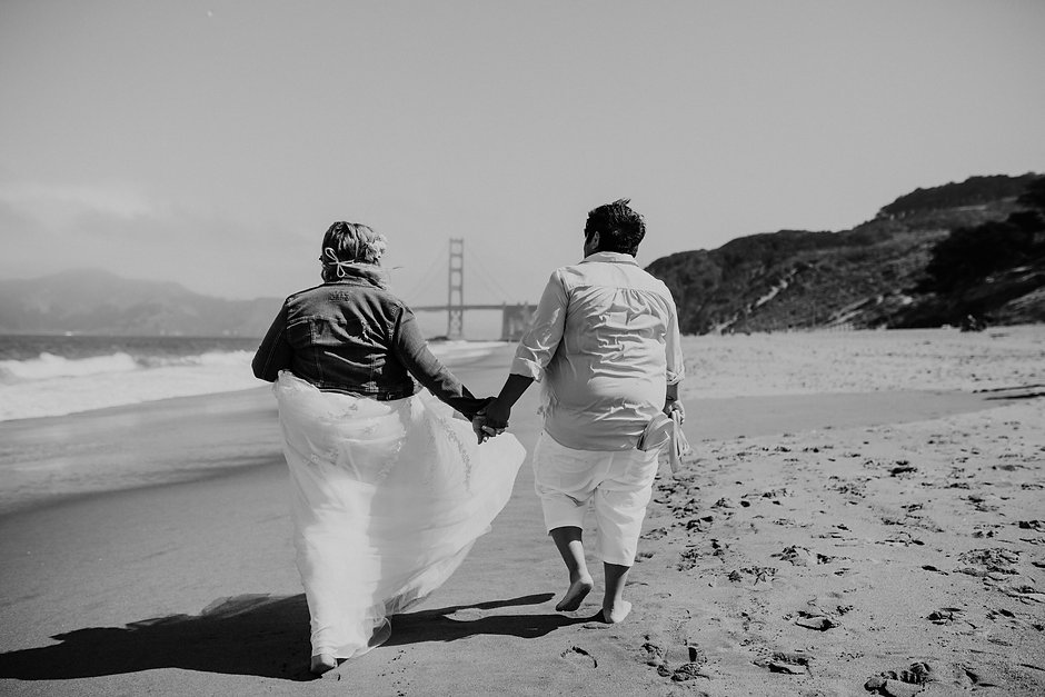 baker beach elopement golden gate bridge