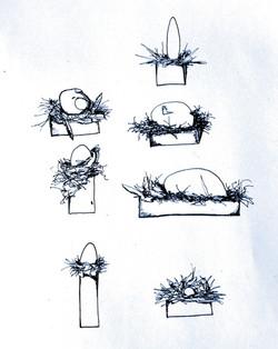 seven eggs/seven nests/seven boxes