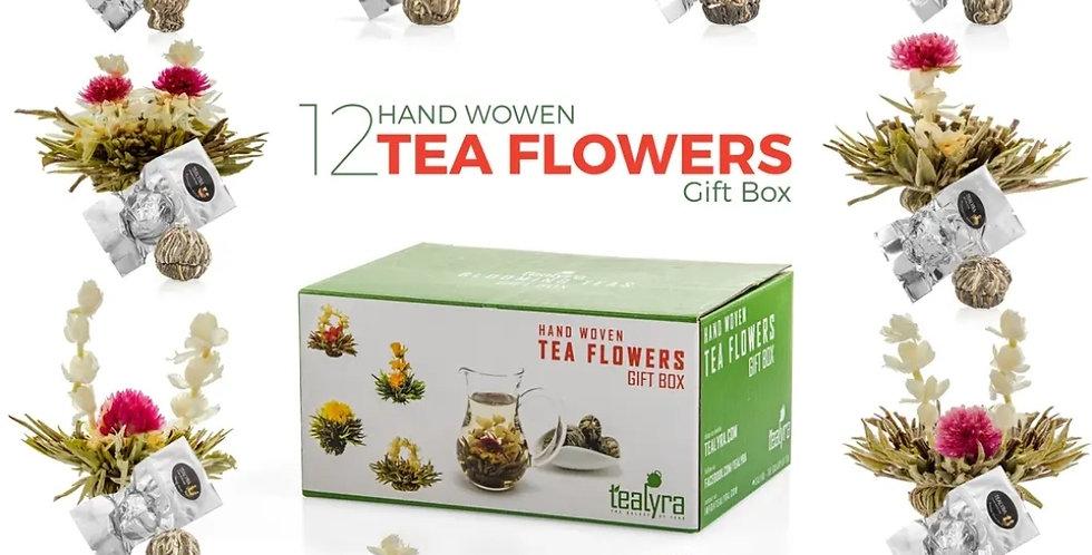 Flowering Blooming Tea Gift Box, 12 pcs Shapes & Flavors