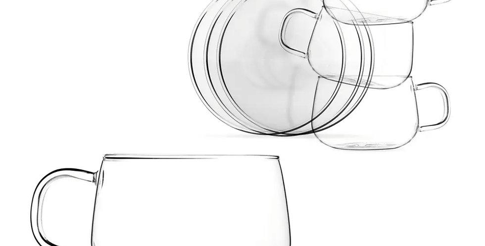 Set 4, 10.1 oz Clear Lightweight Glass Tea Coffee Cup Saucer