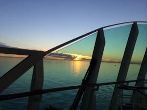 Galveston sunset 2 leaving port