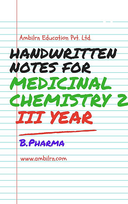 Medicinal Chemistry B.Pharma Fifth Sem