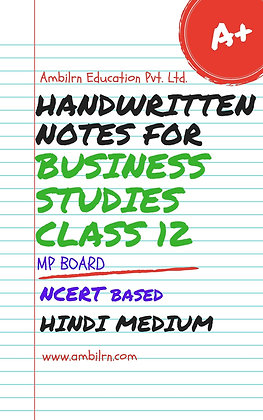 Business Studies Class 12  Handwritten notes for MP Board