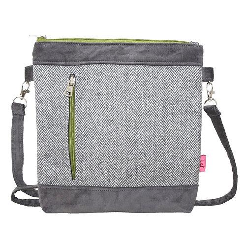 Banded Messenger Bag - Pale Grey Herringbone