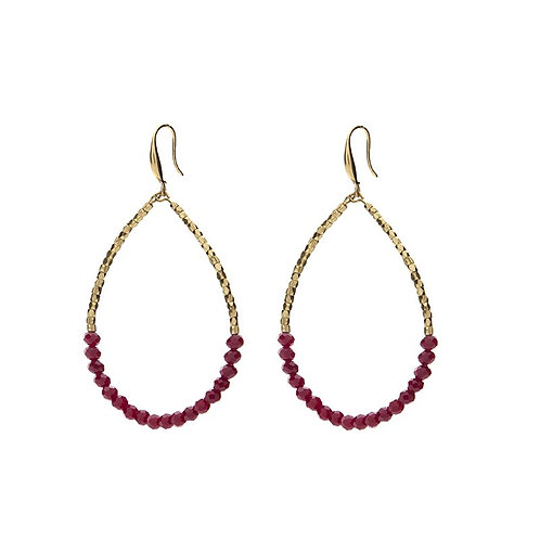 Red gold plated bead pear shaped loop earrings