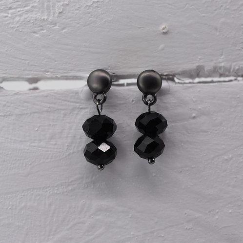 Delicate beaded drop earring - gun metal and black