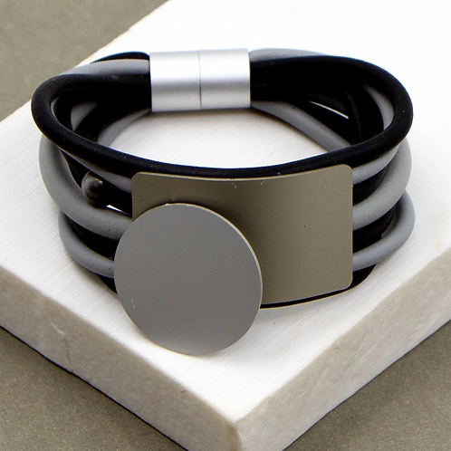 Multistrand neoprene bracelet with aluminium  components