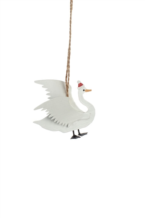 Swan in Christmas Hat Hanging Decoration