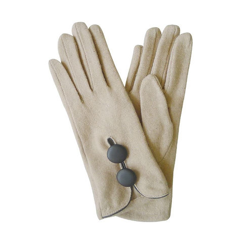 Double Button Wool Glove - Beige