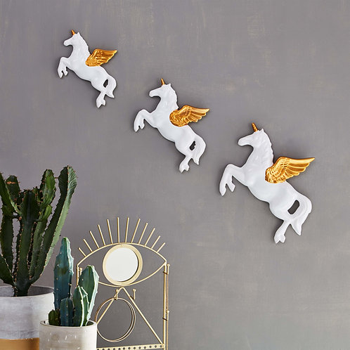 Set of 3 Flying Unicorn Wall Decorations