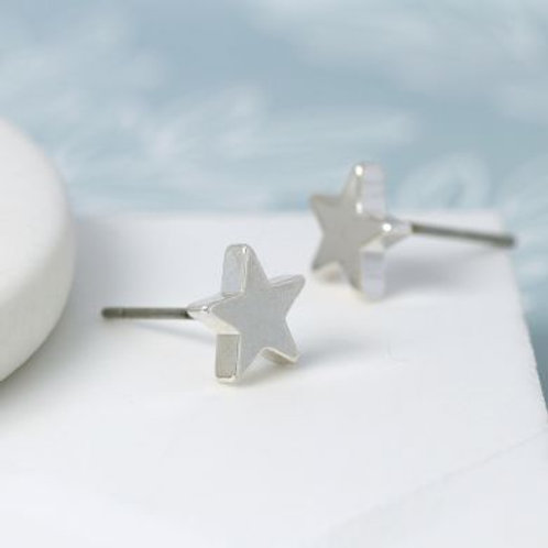 Silver Plated Star Stud Earrings With